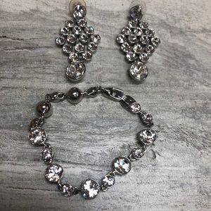 Givenchy Matching Rhinestone Bracelet & Earrings